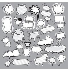 Pop Art Black White Bubbles Set vector image vector image