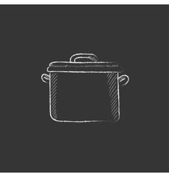 Saucepan Drawn in chalk icon vector image vector image