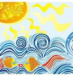Sea sun fishes pattern vector