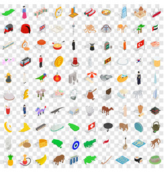 100 country icons set isometric 3d style vector image