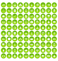 100 startup icons set green vector image