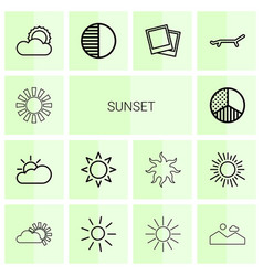 14 sunset icons vector