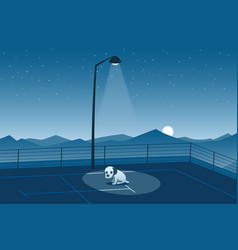 Abandoned puppy alone in a parking lot scene vector
