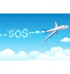 Aero plane with cloudy sos vector
