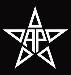 Ap logo monogram with star shape design template vector