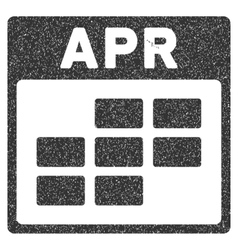 April Calendar Grid Grainy Texture Icon vector