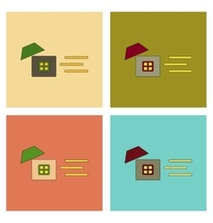 assembly flat icons wind destroys house vector image