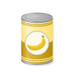 Banana in metal can vector