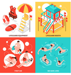 Beach lifeguards 2x2 design concept vector