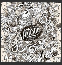 cartoon cute doodles hand drawn artistic vector image