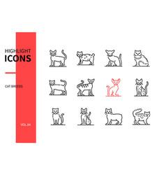 Cat breeds - modern line design style icons set vector