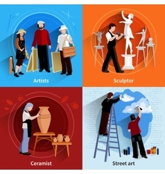 Ceramist Painter Sculptor 2x2 Set vector
