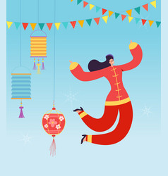 chinese lunar new year carnival people dance vector image