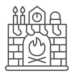 Christmas fireplace thin line icon xmas interior vector