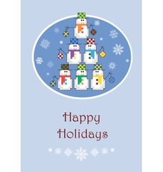 Christmas tree made of snowmen vector image