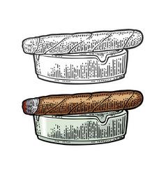 Cigar and ashtray vintage engraving color vector