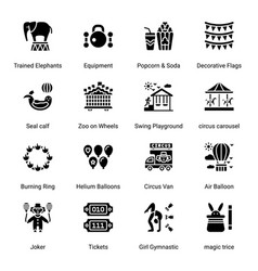 Circus elements glyph icons - solid vector