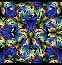 colorful floral 3d seamless pattern vector image