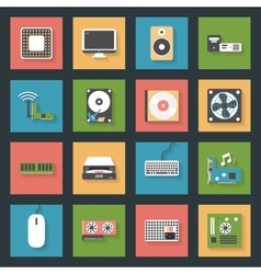 Computer peripherals and parts flat icons set vector image