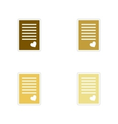 Concept of paper stickers on white background love vector