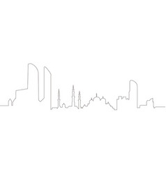 Continous line skyline of abu dhabi vector