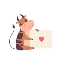cow holding banner with red heart cute cartoon vector image