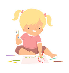 Cute blonde girl sitting on floor and drawing vector
