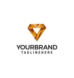 digital letter v logo design concept template vector image