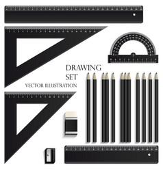 drawing set ruler protractor pencils eraser vector image