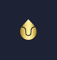 droplet gold arrow logo vector image