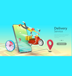 fast delivery service scooter e-commerce and vector image