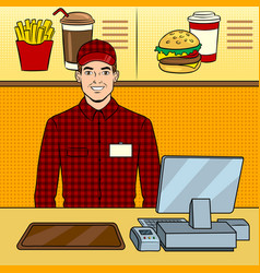 fast food seller at work pop art vector image