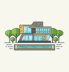 flat line modern house vector image
