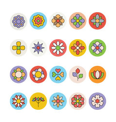 Flowers and Floral Colored Icons 3 vector
