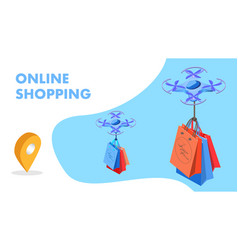 Futuristic shopping isometric banner template vector