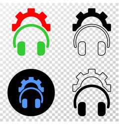 Gear headphones eps icon with contour vector