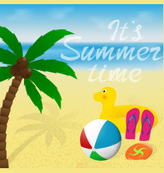 Greeting card with lettering summer vacation vector