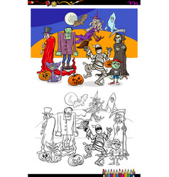 halloween with scary characters color book vector image