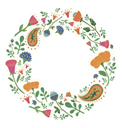 Hand drawn round frame with cute flowers vector