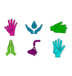Hand protect icon set color outline style vector