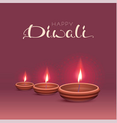 happy diwali text greeting card indian festival vector image