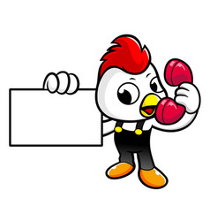 Happy rooster character is call and holding a vector