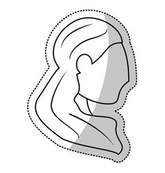 Head woman bride wedding outline vector