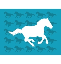 Horse running silhouette icon over pattern image vector