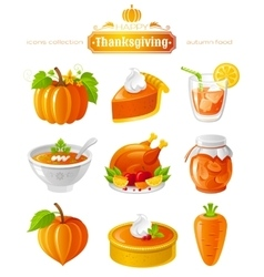 Icon set with autumn vector