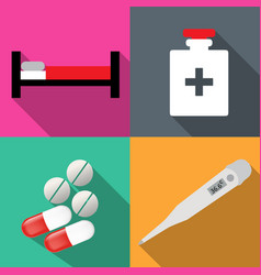 icons on medicine in a flat vector image