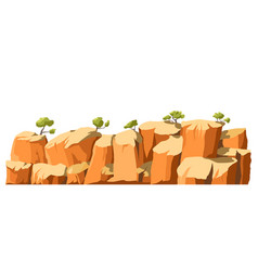 Landscape with cliffs and trees panoramic scenery vector