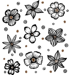 light background with graphic flowers vector image