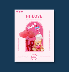 Love poster design with teddy bear gift vector