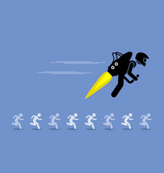 Man with jet pack flying ahead of everybody else vector